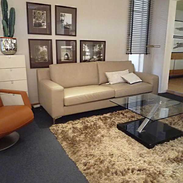 6853 sensa couch sofa concerto light kappnaht leder hell chromfuss muenster