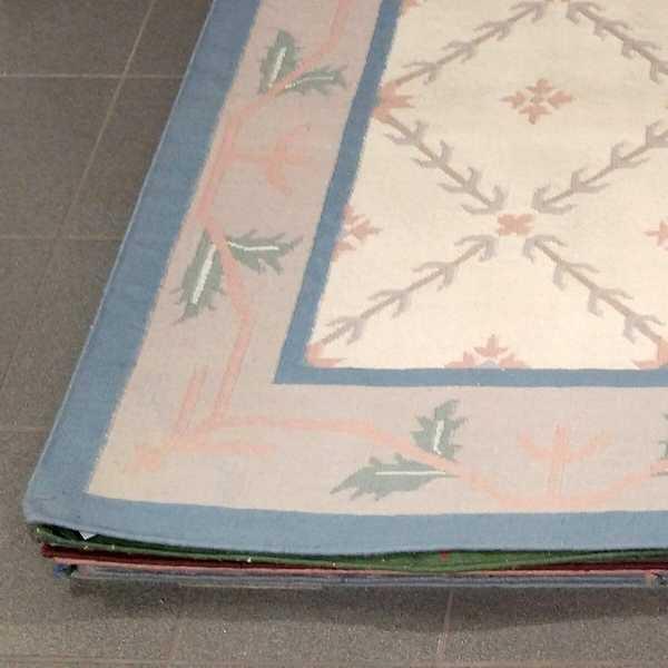 1060 domicil sensa teppich dhurry rankengitter blaetterrand beige blau hell wolle handgewebt muenster