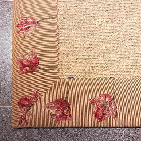 1677 domicil sensa teppich sikodo simeli bandeinfassung beige blumen schlicht natur flach wolle maschinell muenster