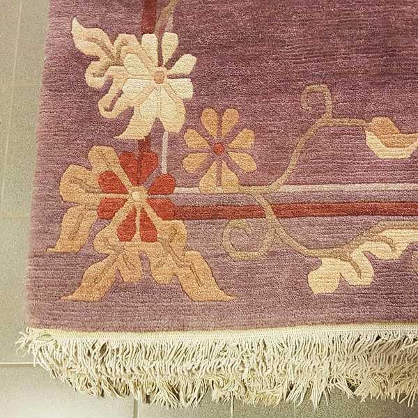 1184 domicil sensa teppich nepal fantasieblume lila wolle handgeknuepft muenster