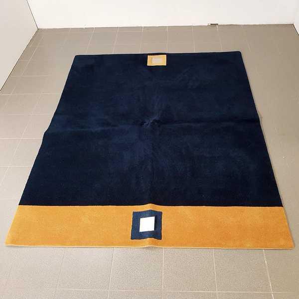 1662 domicil sensa teppich nepal modern quadrat blau orange gelb  wolle handgeknüpft muenster