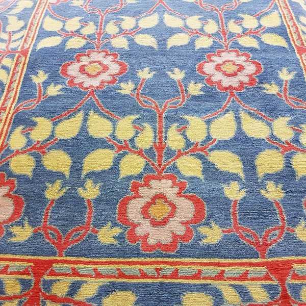 4246 domicil sensa teppich nepal shoba 100 priya blau rot orange blumen muster wolle handgeknuepft muenster