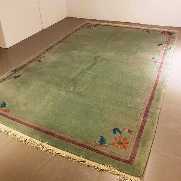 1094 domicil sensa teppich nepal tulip gruen blumen floral wolle handgeknuepft muenster