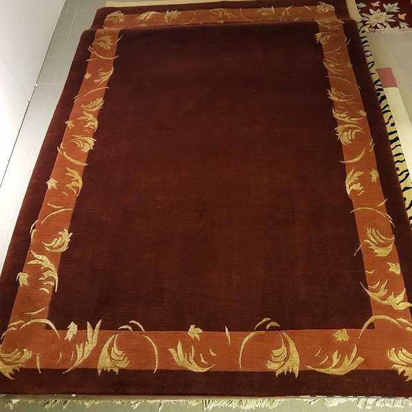 4269 domicil sensa teppich nepal malta rostrot orange schurwolle seide handgeknuepft muenster