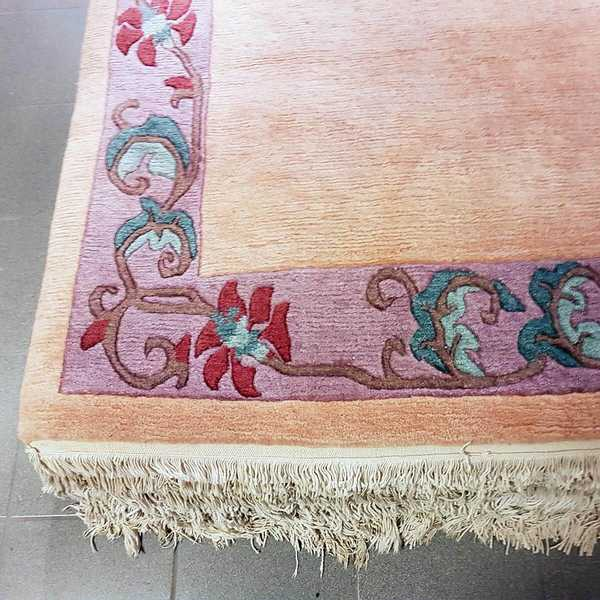 4243 domicil sensa teppich nepal shoba langri borduere lachs reine schurwolle handgeknuepft muenster