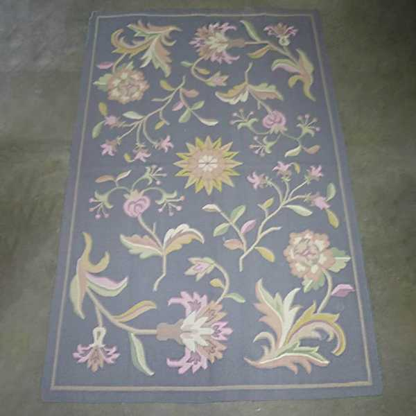 domicil sensa teppich dhurry floral grau blau blumen flach gewebt muenster