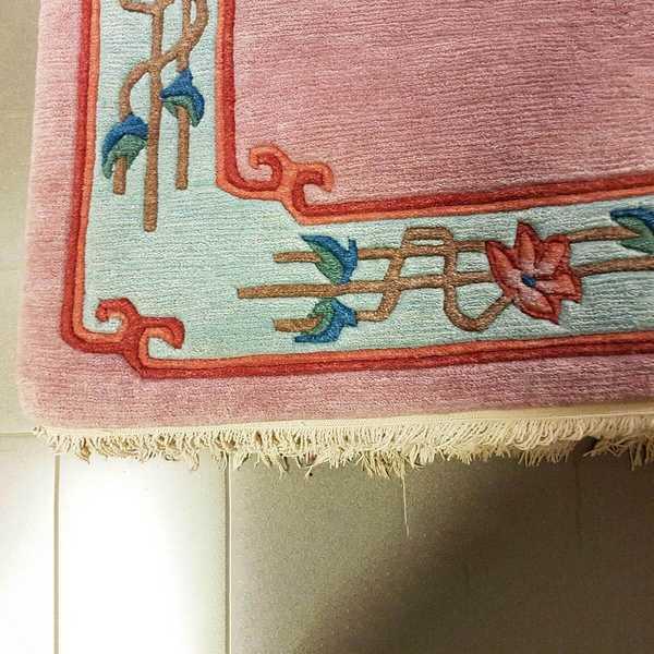 4238 domicil sensa teppich nepal doex rot dekorativ floral rand fraise wolle handgeknuepft