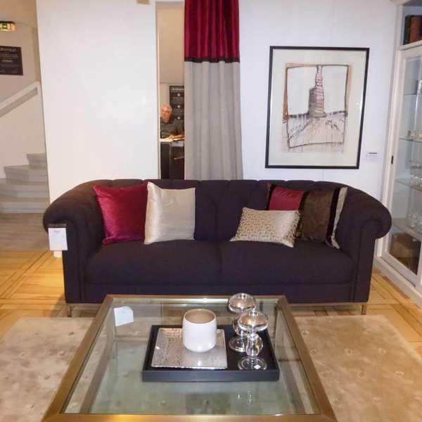 sensa sofa cambridge 3,5-sitzig leder braun anthracite edelstahlsockel muenster