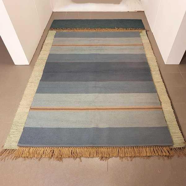 2606 domicil sensa teppich lando blockstreifen hellblau dunkelblau beige baumwolle handgewebt muenster